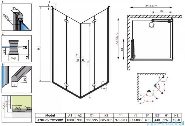 Eos KDD-B Radaway kabina prysznicowa 100x90 szkło intimato 37353-01-12N
