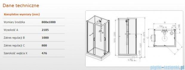 Sanplast Kabina czterościenna kompletna kpl-KCKN/CLII-80x100 80x100x210 cm przejrzysta 602-011-0050-01-4B1