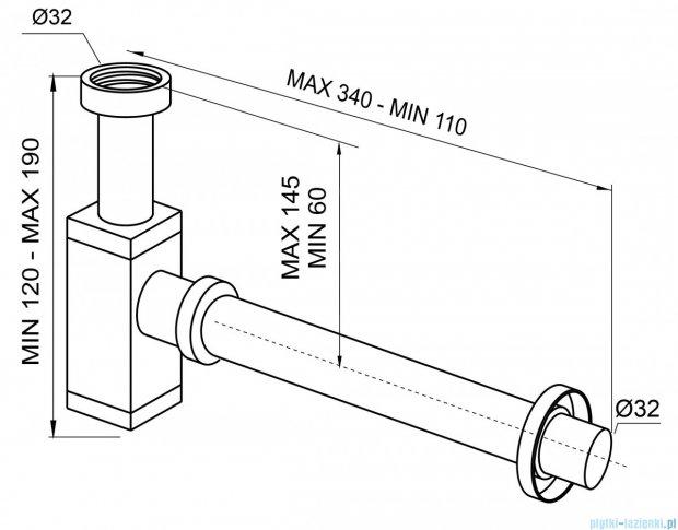 New Trendy półsyfon umywalkowy kwadratowy chrom S-0034
