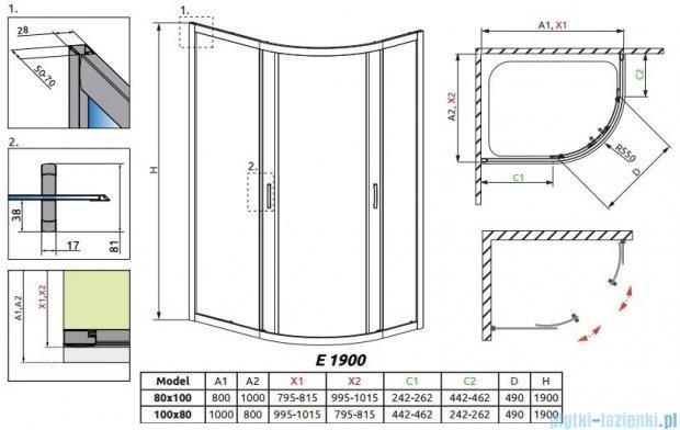 Radaway Premium Plus E Kabina półokrągła z drzwiami przesuwnymi 100x80x190cm szkło satinato 30491-01-02N