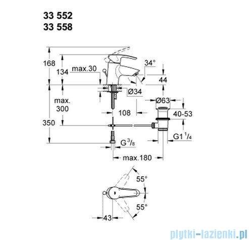 Grohe Eurostyle bateria umywalkowa DN 15  niska z korkiem 33552001