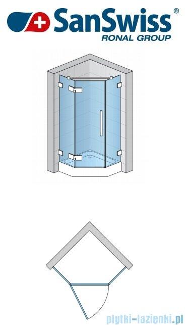 SanSwiss Pur PUT51 Ścianka boczna do kabiny 5-kątnej 30-100cm profil chrom szkło Cieniowanie czarne PUT51SM11055