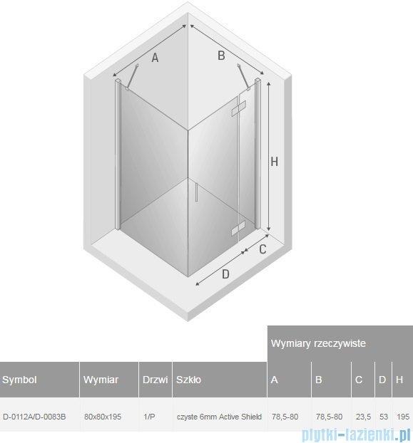 New Trendy New Renoma kabina kwadratowa 80x80x195cm przejrzyste prawa D-0112A/D-0083B