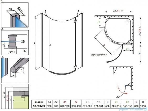 Radaway Torrenta PDJ kabina półokrągła 90x90 prawa szkło przejrzyste + Brodzik Delos A + Syfon 31800-01-01N