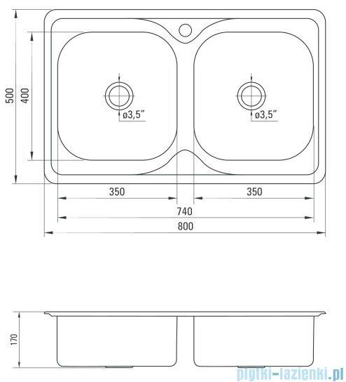 Deante Maredo zlewozmywak 2-komorowy bez ociekacza 80x50 cm satyna ZYU 0203