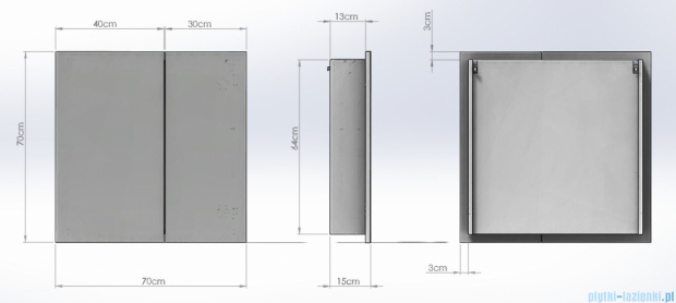 Antado Anta Szafka lustrzana 2-drzwiowa 70x15x70cm AN-070