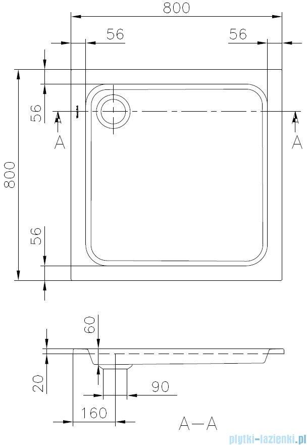 Villeroy&Boch Futurion Brodzik Kwadratowy 80x80cm   UDQ0806FUT1V-01