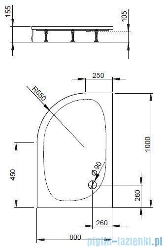 Radaway Patmos E brodzik półokrągły 100x80 lewy bez obudowy 4P81155-03BL