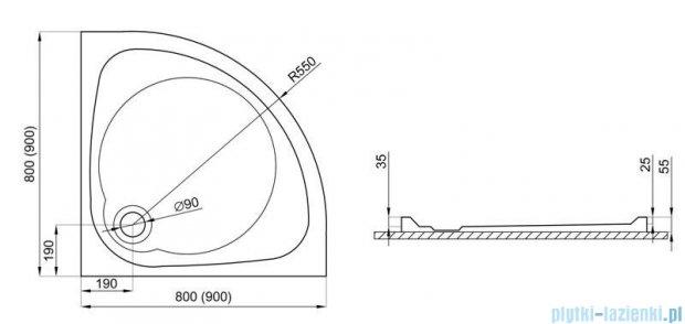 Polimat Nowy Styl brodzik półokrągły posadzkowy 90x90cm 00622