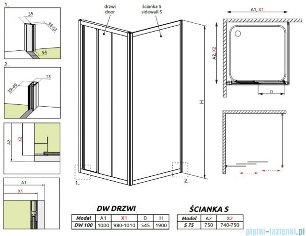Radaway Treviso DW+S kabina 100x75 szkło fabric 32323-01-06N/32433-01-06N