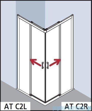 Kermi Atea Wejście narożne lewe, połowa kabiny, szkło przezroczyste KermiClean, profile białe 80x200cm ATC2L080202PK