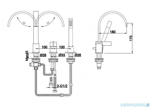 Kohlman Dexame 3-otworowa bateria wannowa QB241D