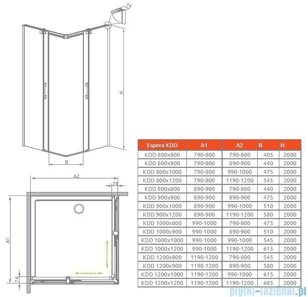 Radaway Espera KDD Kabina prysznicowa 120 część prawa szkło przejrzyste 380153-01R