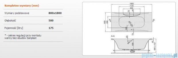 Sanplast Altus Wanna prostokątna+stelaż WP-ALT/EX 180x80+SP, 610-120-0260-01-000