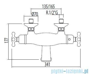 Tres Monoclasic 1900 Bateria termostatyczna wannowa kolor stary mosiądz 032.174.09.LV