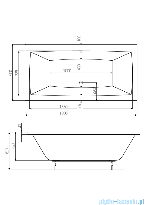 Roca Vita wanna 180x90cm z hydromasażem Effects Titanium A24T089000