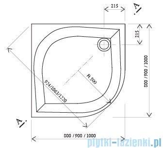 Ravak Brodzik półokrągły Galaxy Elipso-100 EX 100x100 A22AA01310