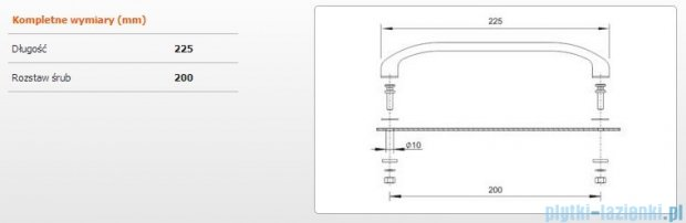 Sanplast ZnAl uchwyt do wanien 23cm chrom 661-A0011