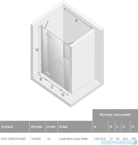 New Trendy Reflexa Plus 130x200 cm drzwi wnękowe lewa przejrzyste EXK-1208/EXK-0002