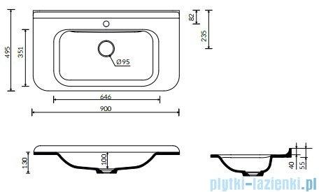 Marmorin Balta umywalka wpuszczana w blat z przelewem i z otworem na baterie 90x49 721160020211