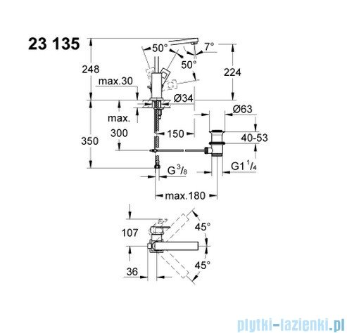Grohe Eurocube bateria umywalkowa DN 15 23135000