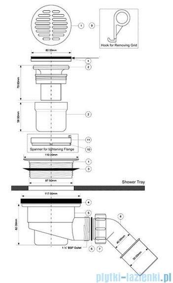McAlpine Syfon brodzikowy 90'' pokrywa kolorze chrom HC27-CPB
