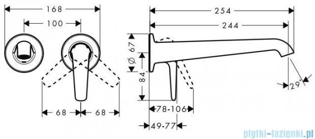 Hansgroge Axor Bouroullec Jednouchwytowa bateria ścienna z wylewką 245mm DN15 19127000