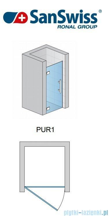 SanSwiss Pur PUR1 Drzwi jednoczęściowe wymiar specjalny profil chrom szkło przejrzyste Lewe PUR1GSM11007