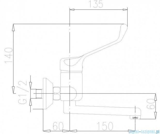 KFA Bateria specjalna umywalkowo-zlewozmywakowa lekarska ścienna chrom dł. 150 mm 470-880-00