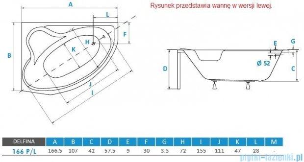 Piramida Delfina 166x107cm Wanna asymetryczna Prawa