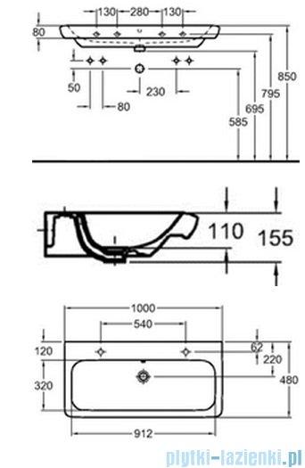 Koło Life! umywalka reflex 100cm z dwoma otworami na baterie biała M21510900