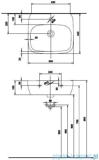 Koło Style Umywalka 50cm z otworem+powłoka Reflex L21950900