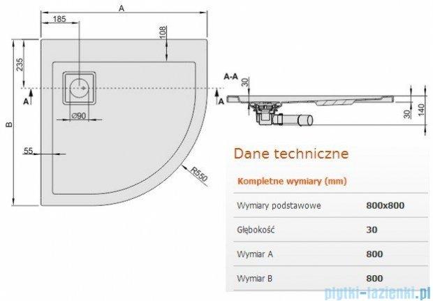 Sanplast Space Line brodzik półokrągły 80x80x3cm+syfon 615-110-0320-01-000