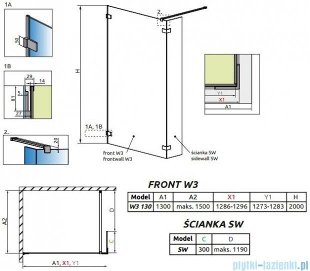 Radaway Euphoria Walk-in II kabina 130cm szkło przejrzyste 383135-01-01/383160-01-01