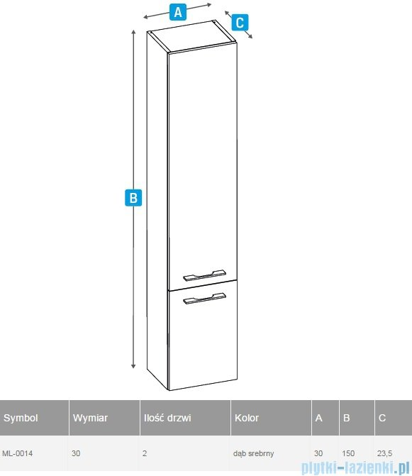 New Trendy słupek wiszący One 30x150cm dąb srebrny ML-0014