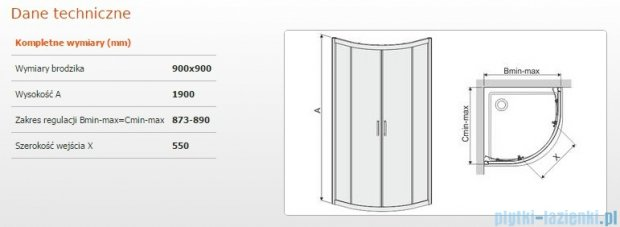 Sanplast kabina narożna półokrągła KP4/TX4-90 szkło W14 600-271-0061-38-220