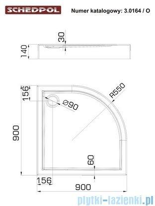 Schedpol Competia Brodzik półokrągły z nośnikiem 90x90x14cm 3.0164