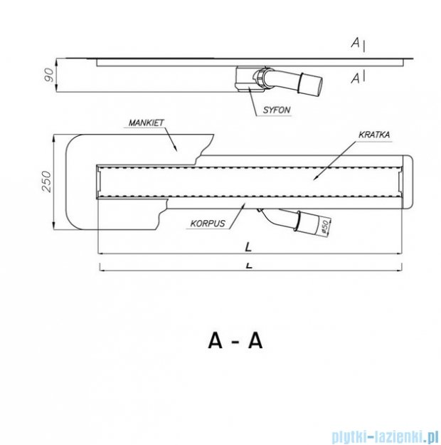 Wiper Odpływ liniowy Invisible 110cm wiperinvisible_1100