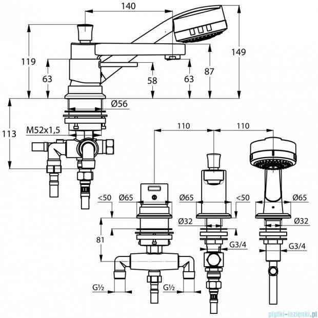 Kludi Zenta Jednouchwytowa bateria wannowo-natryskowa DN 15 chrom 384460575