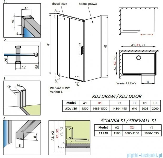 Radaway Idea Kdj kabina 150x110cm lewa szkło przejrzyste 387045-01-01L/387053-01-01R