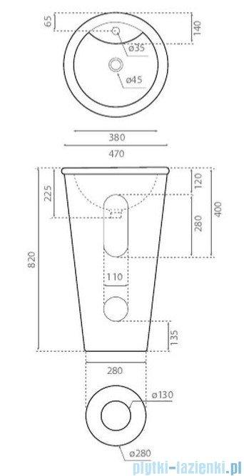 Bathco Roma umywalka stojąca 47x82cm 4047