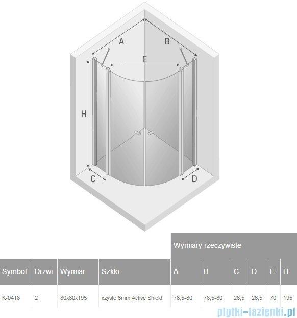 New Trendy New Soleo kabina półokrągła R55 80x80x195cm przejrzyste K-0418