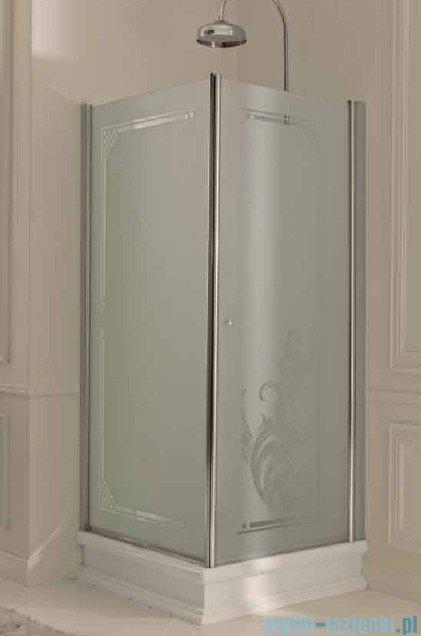 Kerasan Retro Kabina prostokątna lewa szkło dekoracyjne piaskowane profile złote 80x96 Retro 9143P1