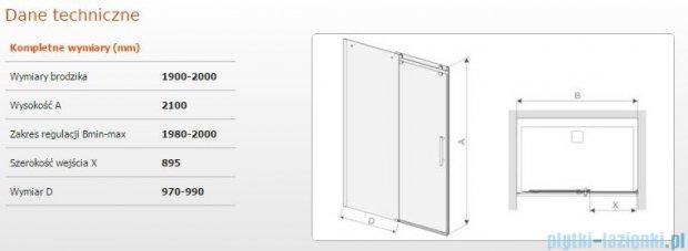 Sanplast drzwi przesuwne D2/ALTIIa-190-200 190-200x210 cm przejrzyste 600-121-1591-42-401
