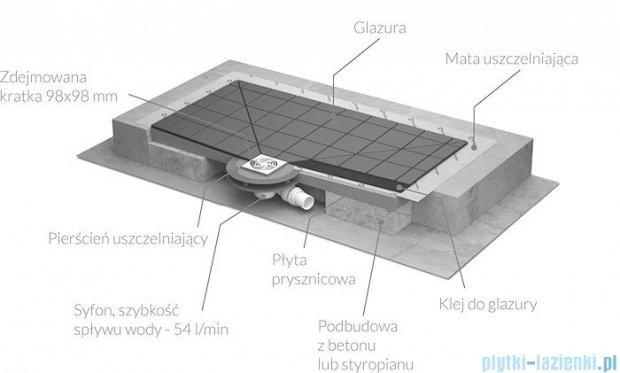 Radaway kwadratowy brodzik podpłytkowy z kratką odpływową 79x79cm 5CK0808,5K01,5SK1
