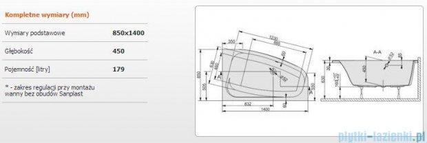 Sanplast Free Line Wanna asymetryczna prawa+stelaż WAP/FREE 140x85+ST26, 610-040-0550-01-000