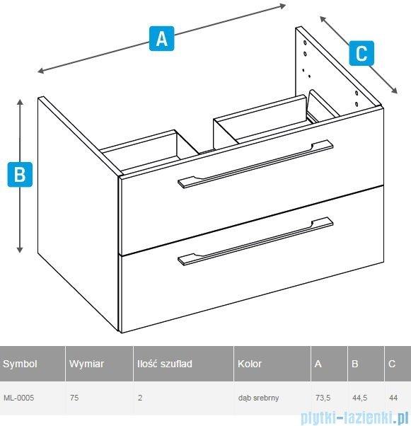New Trendy szafka podumywalkowa One 75cm dąb srebrny ML-0005