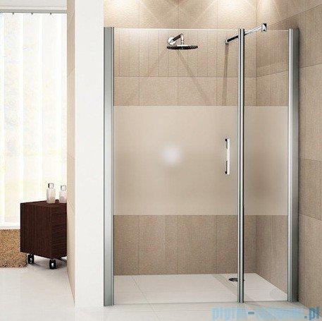 Novellini Drzwi do wnęki z elementem stałym GIADA G+F 114 cm lewe szkło przejrzyste profil biały GIADNGF114S-1A