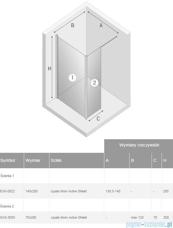 New Trendy New Modus kabina Walk-In 140x70x200 cm przejrzyste EXK-0022/EXK-0055