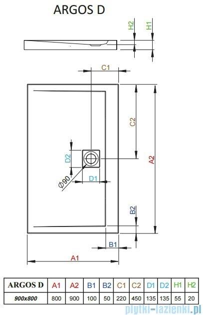 Radaway Brodzik prostokątny Argos D 90x80x5,5 cm 4AD89-01